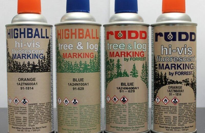 previous RUDD® Tree & Log Marking Paint label vs. current HIGHBALL® Tree Marking Paint label