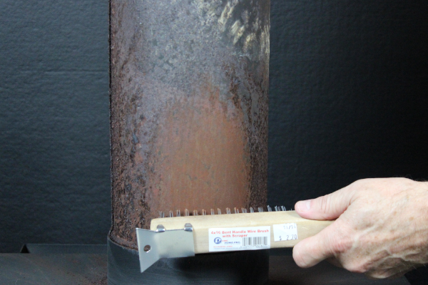 Wire brush cleaning substrate for high temperature paint preparation